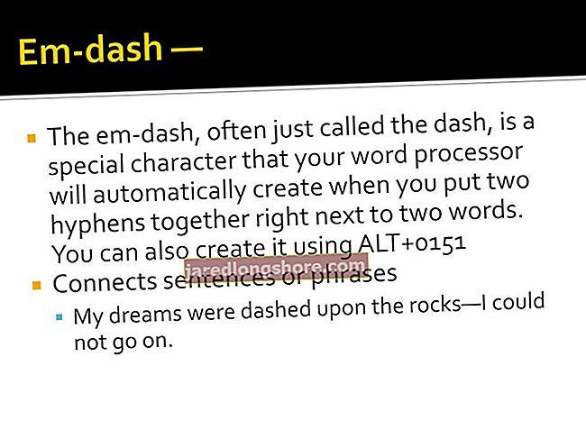 Kuidas lisada Wordi Dashi kriips